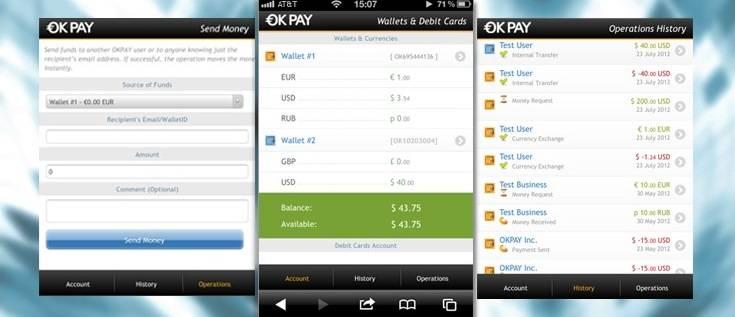 Мобильная версия Okpay