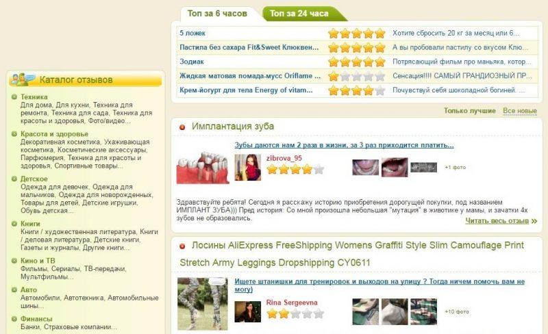 Список отзывово на iRecommend.ru