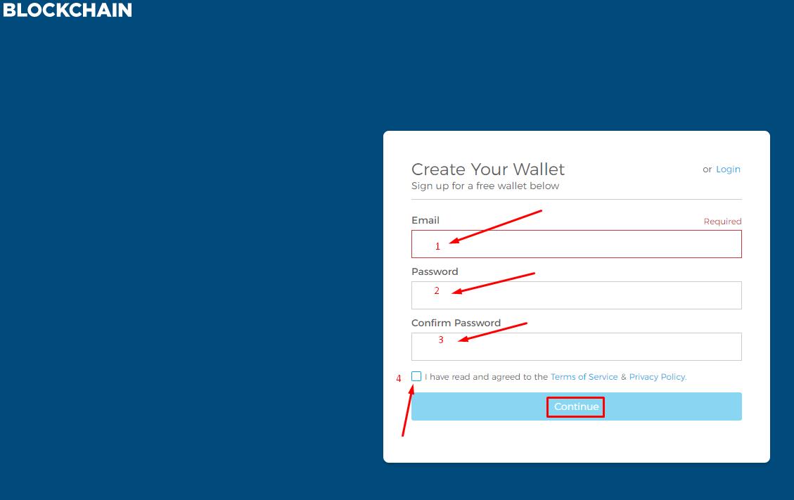 Регистрационная форма биткоин кошелька