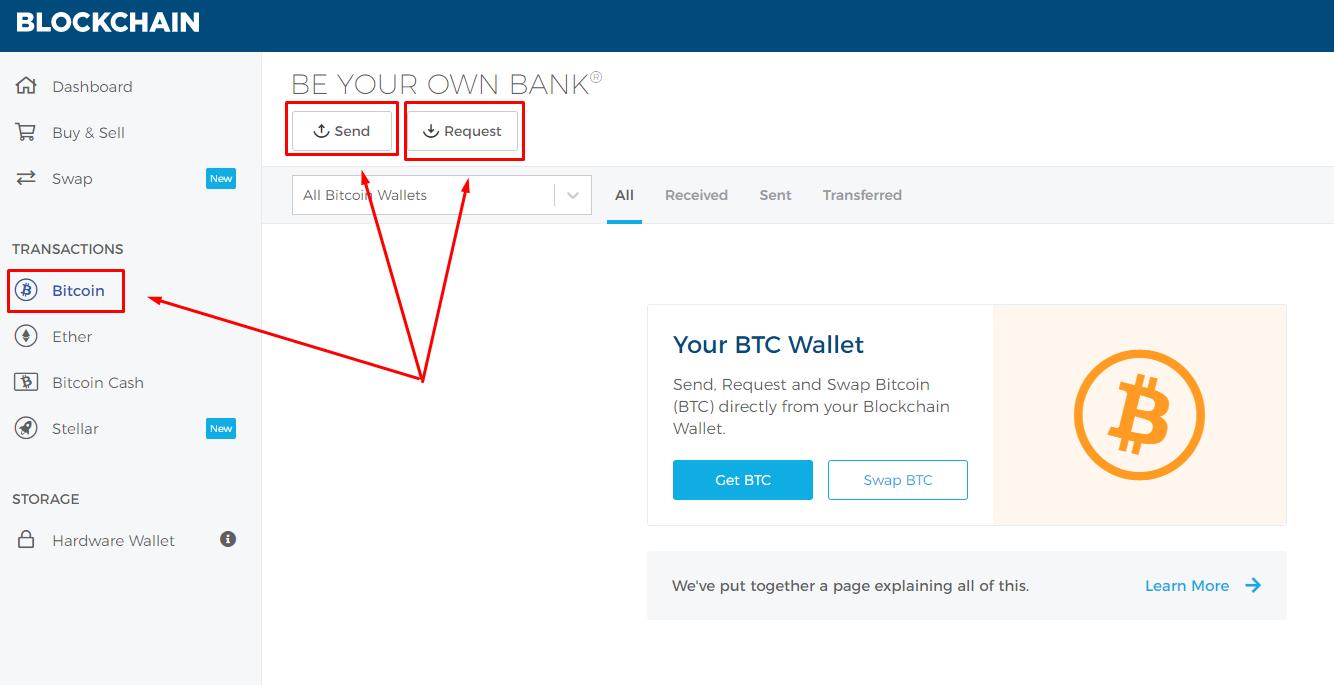 Кнопки для получения и отправки BTC