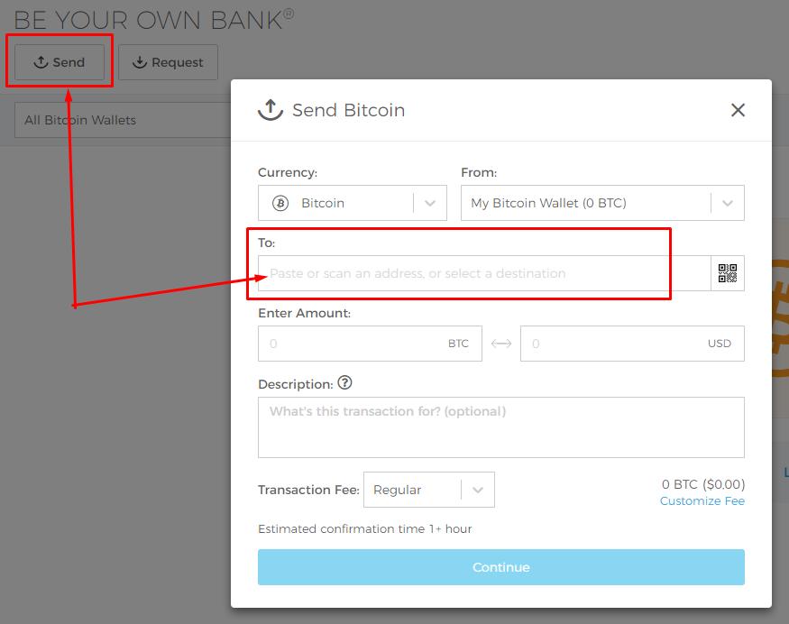 Как отправить монеты с BTC-wallet