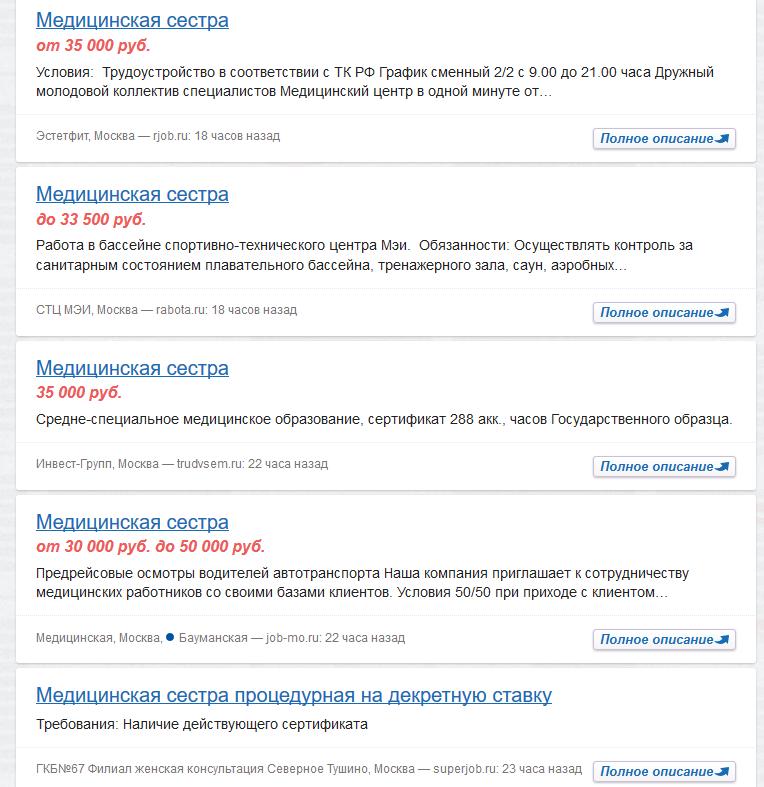 Минимальные ЗП медсестер в Москве