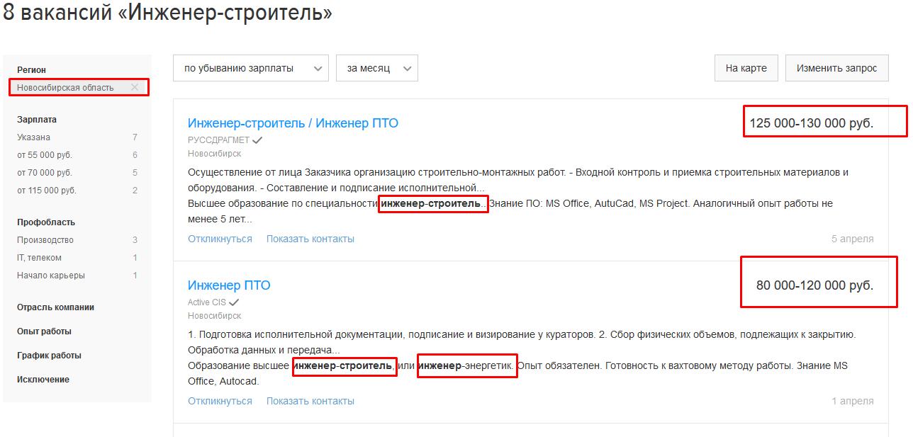 ЗП инженеров строителей и нефтяников в Новосибирске
