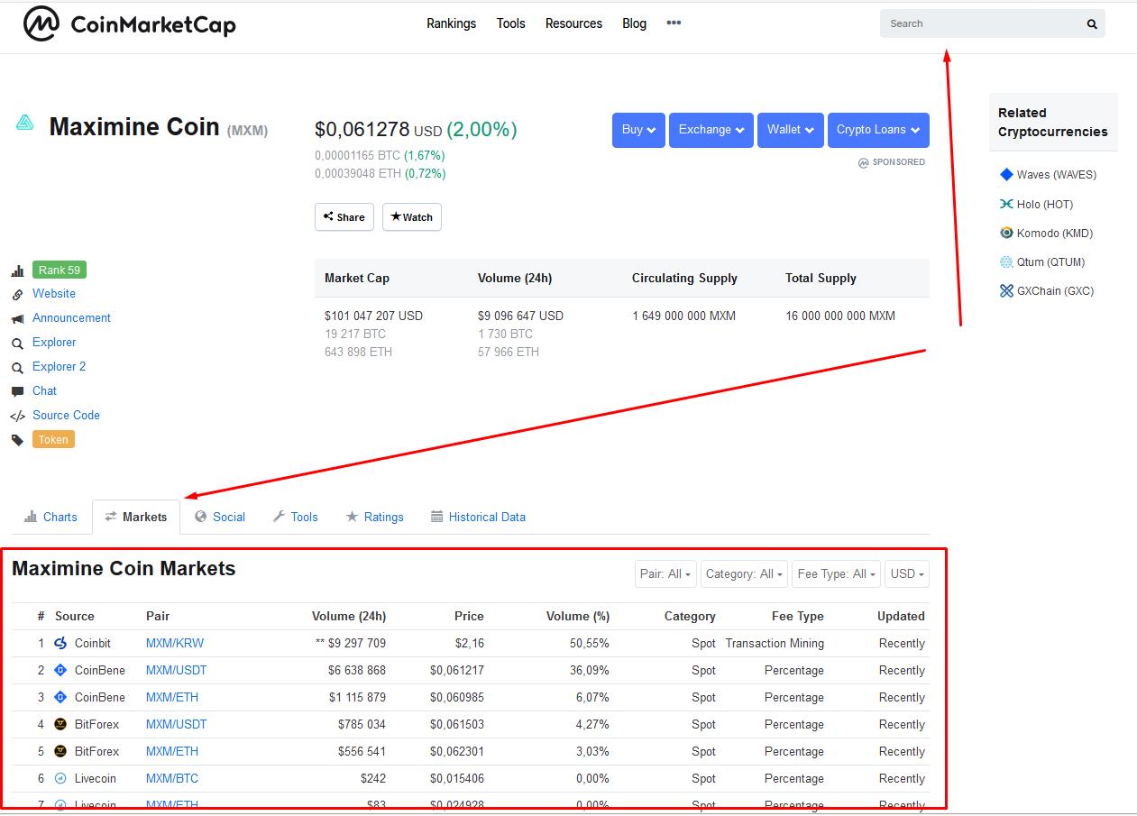 Поиск биржи на CoinMarketCap