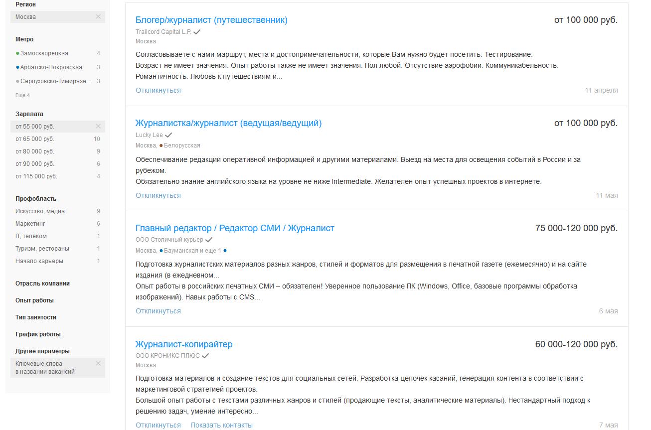 Примеры объявлений о предложении работы в Москве