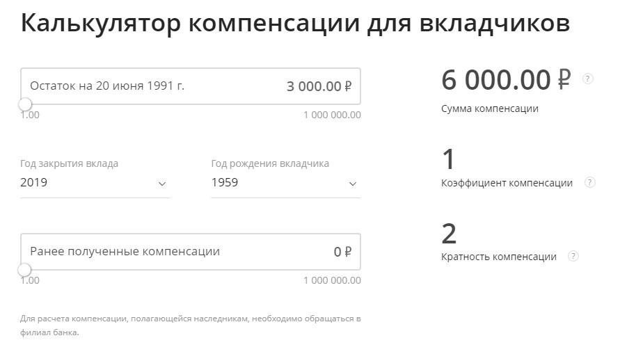 Пример расчета размера компенсации