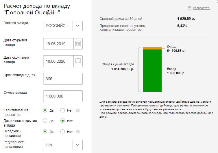 Расчет дохода по вкладу «Пополняй Онлайн»