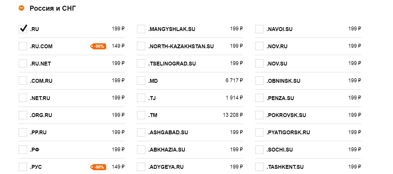 Расценки на домены