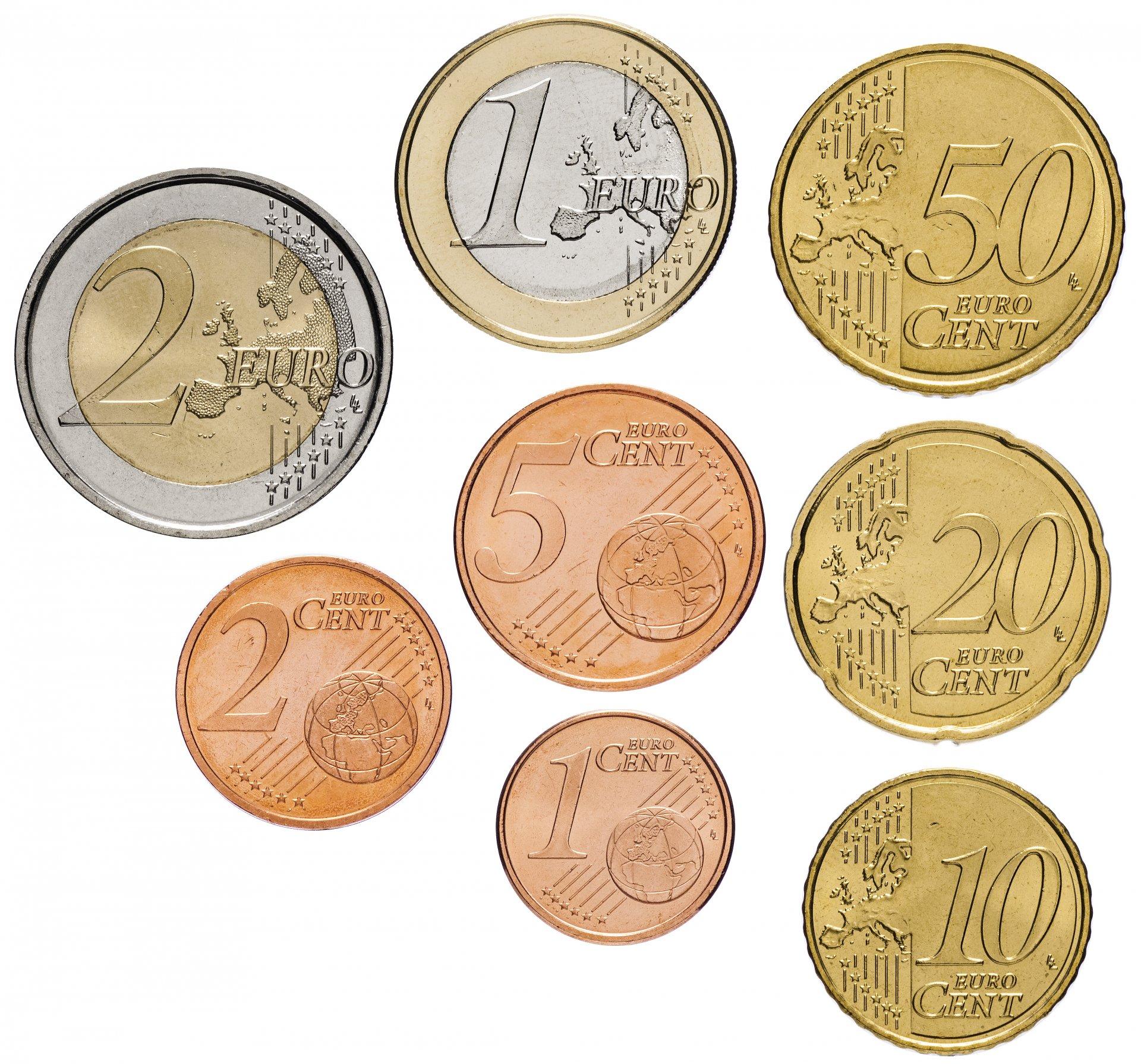 Вид европейского евро, монеты
