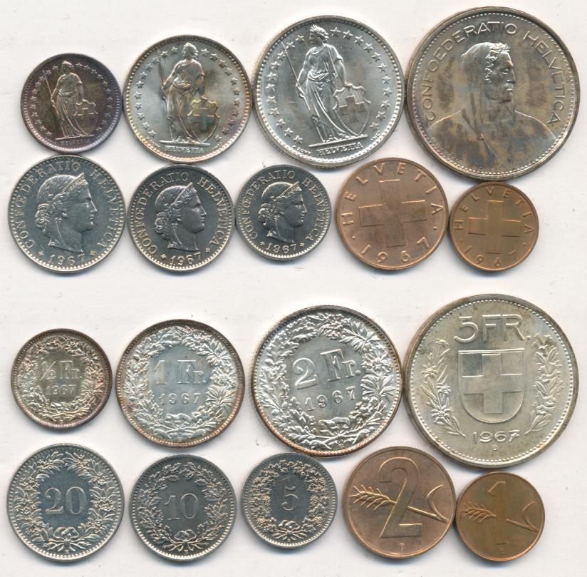 Вид швейцарского франка, монеты