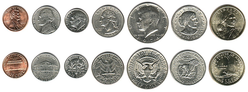 Вид доллара США, монеты