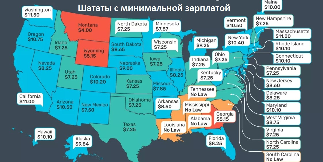 Минимальные ставки заработной платы в США в 2018 году