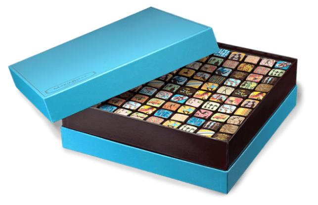 Голубая коробка «100 ганаш»