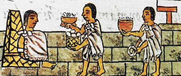 Древнее изображение ацтеков: слуги подают вождю шоколад