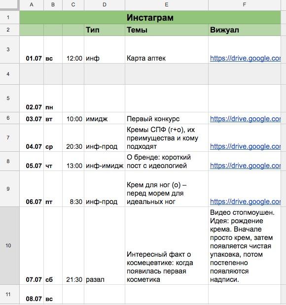 Расписание постов для косметической фирмы