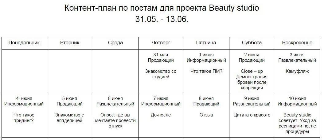 График публикаций для студии красоты
