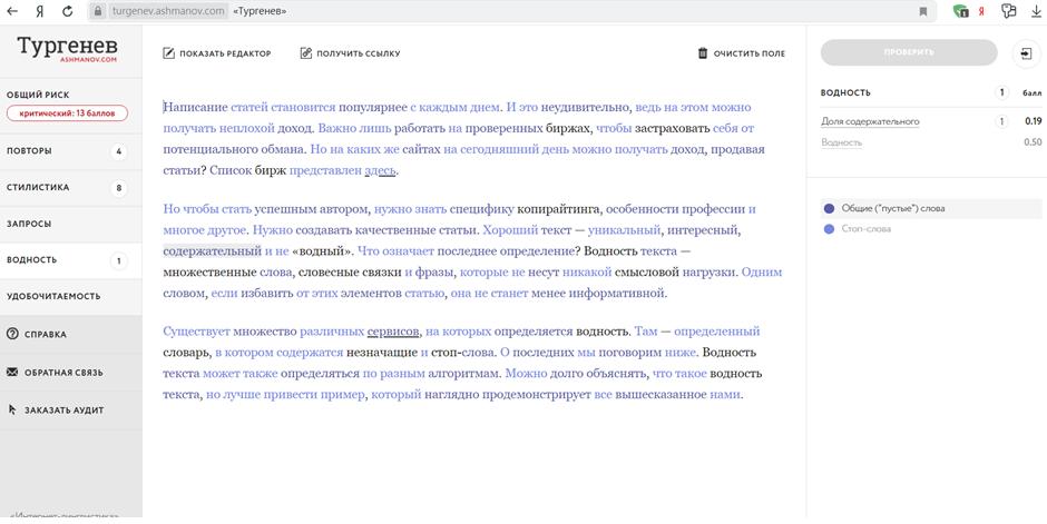 Отчёт работы «Тургенева»