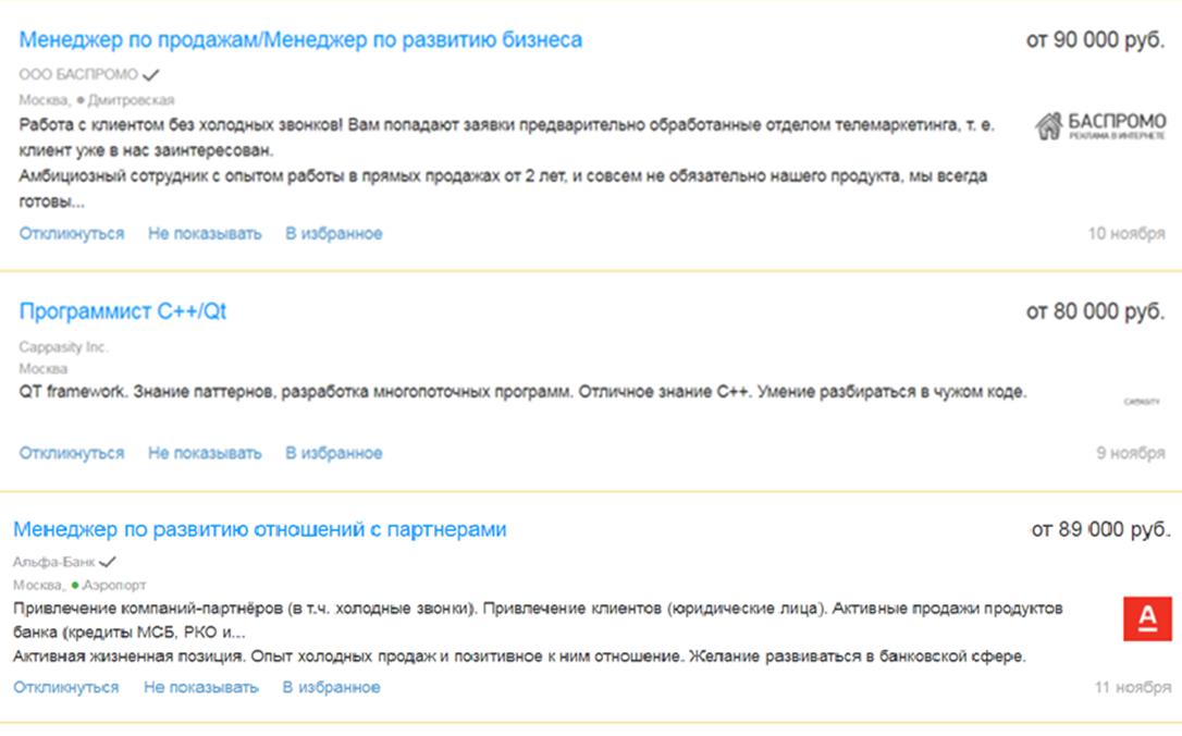 Профессии с зарплатой от 80 до 100 тыс. рублей