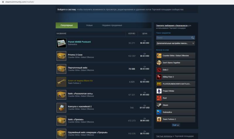 Торговая площадка в Steam